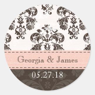 Rosa y sellos personalizados del boda del damasco etiquetas redondas