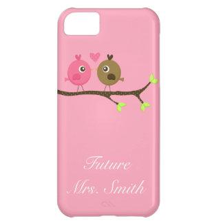 Rosa y señora del futuro de los pájaros del amor d funda para iPhone 5C