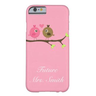Rosa y señora del futuro de los pájaros del amor funda para iPhone 6 barely there