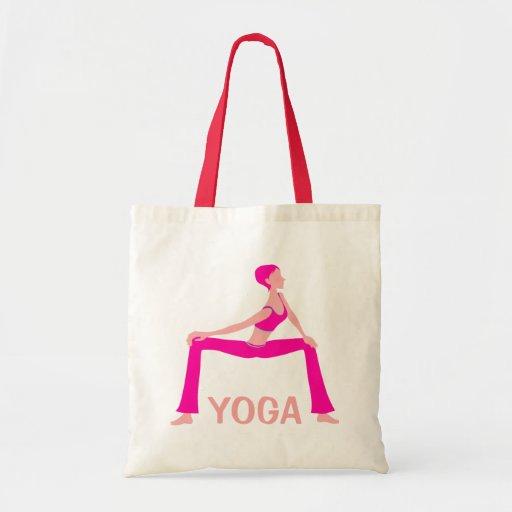 Rosa y silueta de la actitud de la yoga de los ton bolsas de mano
