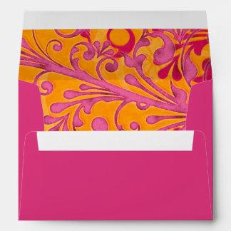 Rosa y sobres que se casan florales anaranjados A-