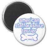 Rosa y Staffordshire Terrier americano azul Imán De Frigorifico