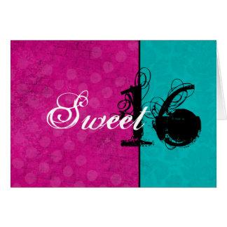 Rosa y tarjeta de cumpleaños feliz del dulce dieci