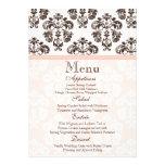 Rosa y tarjeta del menú del boda del damasco del v