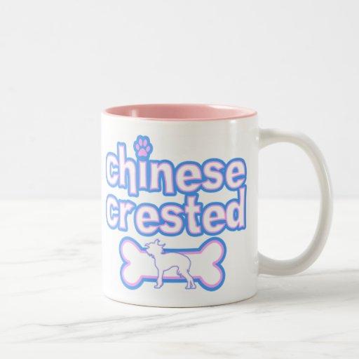 Rosa y taza con cresta china azul