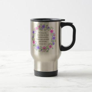 Rosa y taza floral púrpura del viaje del 29:11 de