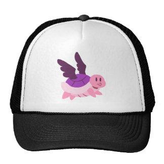 Rosa y tortuga coa alas púrpura gorro