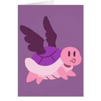 Rosa y tortuga coa alas púrpura tarjeta de felicitación