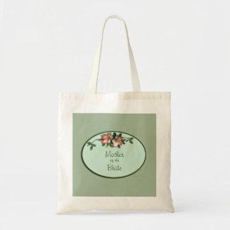 Rosa y tote floral sabio del favor del boda bolsa tela barata