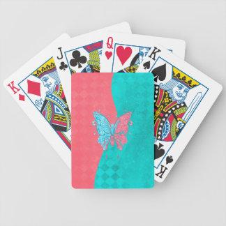 Rosa y trullo de la mariposa de dos tonos baraja de cartas