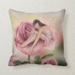 Rosa y verde de hadas de la almohada del arte de l
