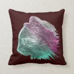 Rosa y verde de la almohada del gato del metal