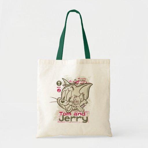 Rosa y verde de Tom y Jerry Bolsas De Mano