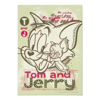 Rosa y verde de Tom y Jerry Invitacion Personalizada