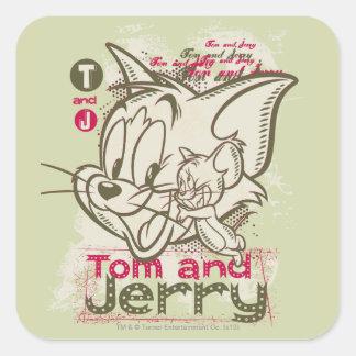 Rosa y verde de Tom y Jerry Pegatina Cuadradas Personalizada