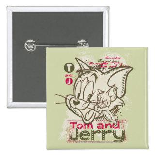 Rosa y verde de Tom y Jerry Pin Cuadrado
