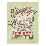 Rosa y verde de Tom y Jerry Postal