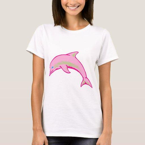 Rosa y verde del delfín playera