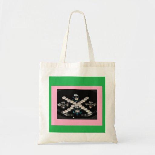 Rosa y verde del tote de los colores bolsas de mano
