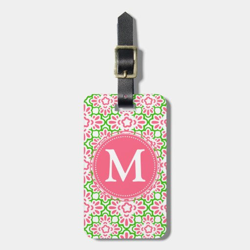 Rosa y verde elegantes del damasco del Arabesque Etiqueta De Equipaje