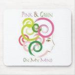 Rosa y verde en mi mente alfombrilla de raton