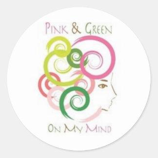 Rosa y verde en mi mente pegatina redonda