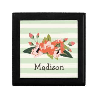 Rosa y verde florales; Rayas verdes en colores Joyero Cuadrado Pequeño