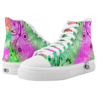 rosa y verde florales zapatillas