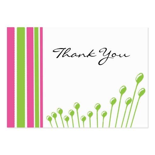 Rosa y verde gracias tarjetas de visita grandes