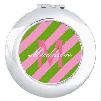 Rosa y verde lima de muy buen gusto rayados espejos compactos