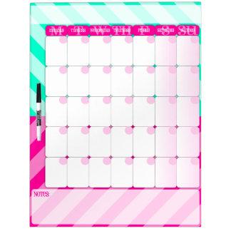 Rosa y verde menta - seque el tablero del calendar pizarras blancas de calidad