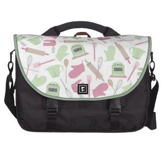 Rosa y verde que cocinan el bolso temático del ord bolsas de portatil