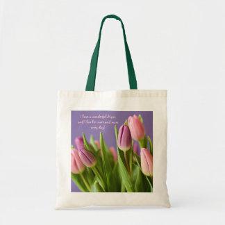 Rosa y violeta de los tulipanes del regalo de la bolsa tela barata