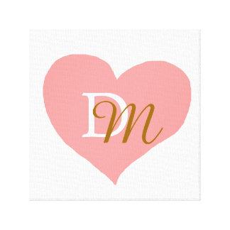 rosado-amor-corazón con monograma lona estirada galerías