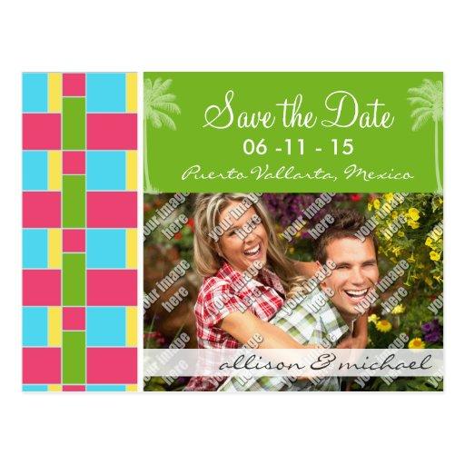 Rosado, azul tropical, verde, y amarillo tarjeta postal
