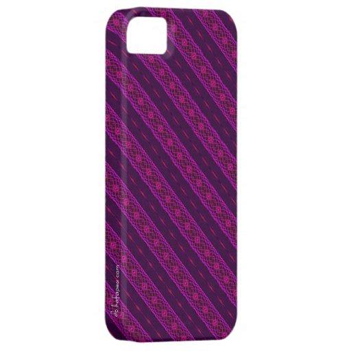 Rosado de encaje y la púrpura raya la caja del iPh iPhone 5 Cárcasas