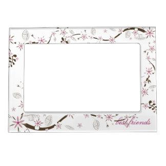 Rosado delicado y el blanco florece los marcos mag marcos magneticos de fotos