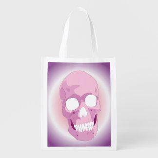 Rosado el bolso reutilizable del cráneo bolsa de la compra