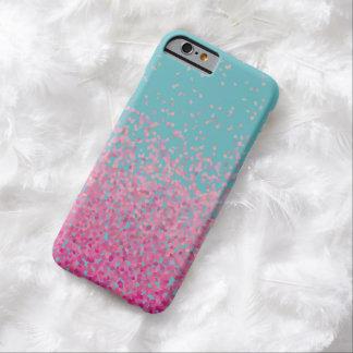 Rosado femenino y azul del confeti abstracto funda de iPhone 6 barely there