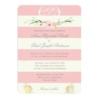 """Rosado floral y el beige de las astas raya invitación 5"""" x 7"""""""