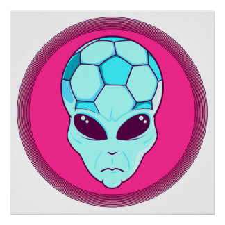 rosado principal extranjero y azul del fútbol póster