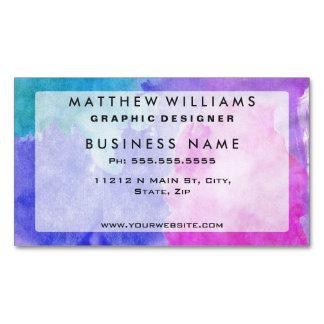 Rosado, púrpura, trullo, y manchas azules de la tarjetas de visita magnéticas (paquete de 25)