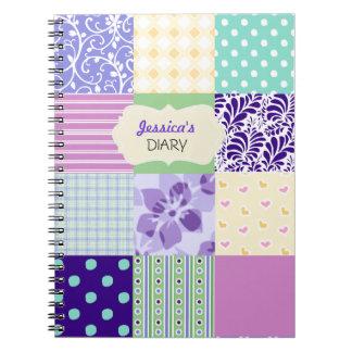 Rosado, púrpura y diario femenino personalizado ve libros de apuntes con espiral