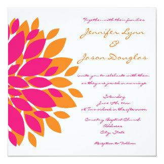 """Rosado simple y el naranja florece invitaciones invitación 5.25"""" x 5.25"""""""