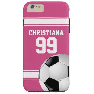Rosado y blanco raya el balón de fútbol del jersey funda de iPhone 6 plus tough