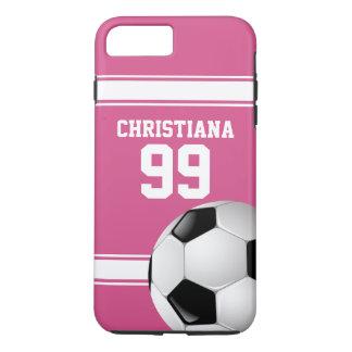 Rosado y blanco raya el balón de fútbol del jersey funda iPhone 7 plus