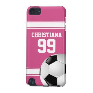 Rosado y blanco raya el balón de fútbol del jersey funda para iPod touch 5G