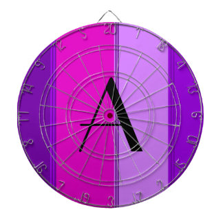 Rosado y púrpura raya el monograma tablero de dardos