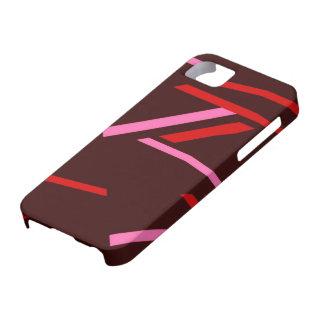 Rosado y rojo raya arte abstracto iPhone 5 cobertura