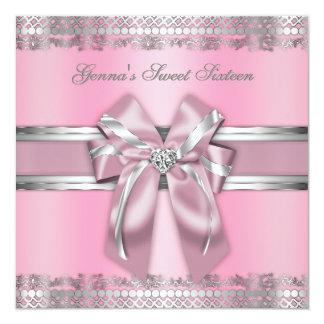 Rosados y de plata con clase invitan invitación 13,3 cm x 13,3cm